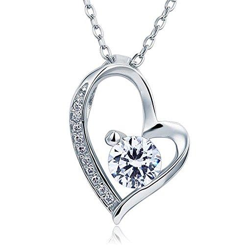 La Honor 925 Dama Colgante Plata Corazón Mikikie Collar De Sterling Del nwkP8O0X