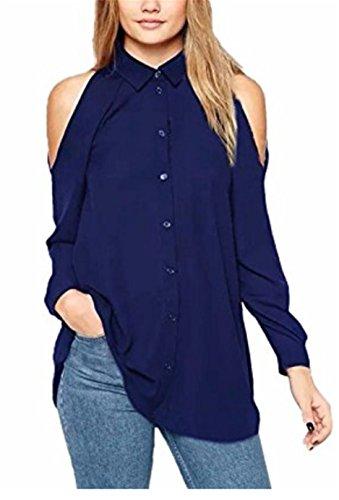 SHUNLIU StyleDome Damen Chiffon Schulterfrei Loose Langarm Mit Buttons Hemd Top Bluse T-shirt Blau
