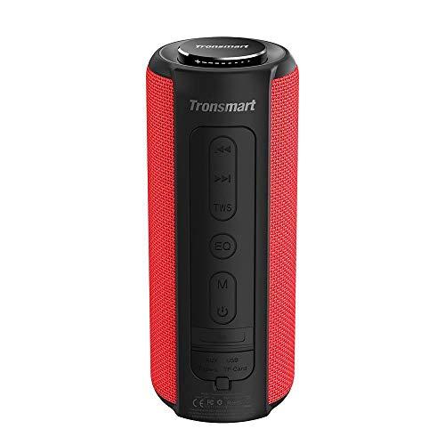 Tronsmart T6 Plus 40W Wireless Outdoor Bluetooth Lautsprecher 5.0 mit Tri-Bass-Effekten, Powerbank, 360° TWS Stereo Sound, wasserdichtes IPX6, 15-Stunden Spielzeit, Sprachassistent und Mikrofon - Rot