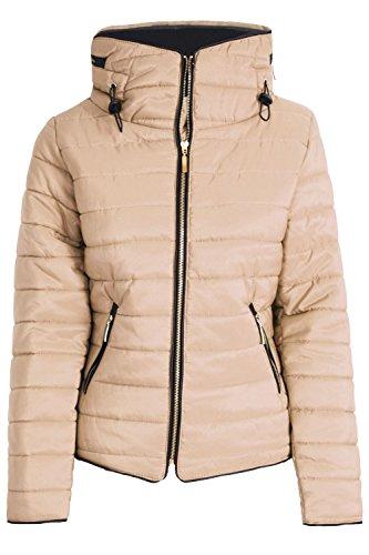 Oops Outlet Damen-mantel Gepolstert Damen Gesteppte Blase Faux Pelzkragen Mit Kapuze Gold Reißverschluss Dick Jacke Stein