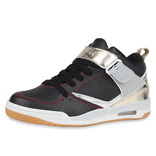 Herren Laufschuhe Sneakers Runners Sportschuhe Lack Schwarz Silber Carlton