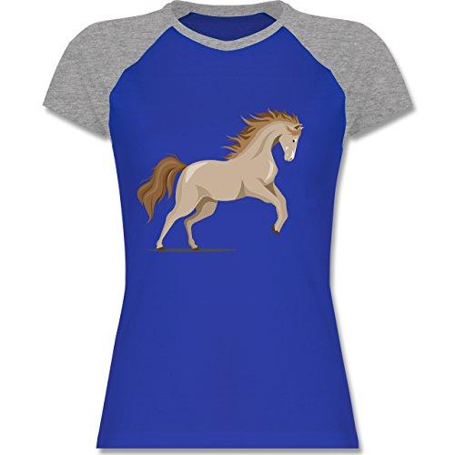 Shirtracer Pferde - Steigendes Pferd - Zweifarbiges Baseballshirt/Raglan T-Shirt für Damen Royalblau/Grau meliert
