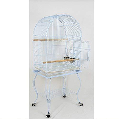 Pet's Solution Gabbia Pappagallo voliera per Uccelli parroccheti con Carrello (Bianco)