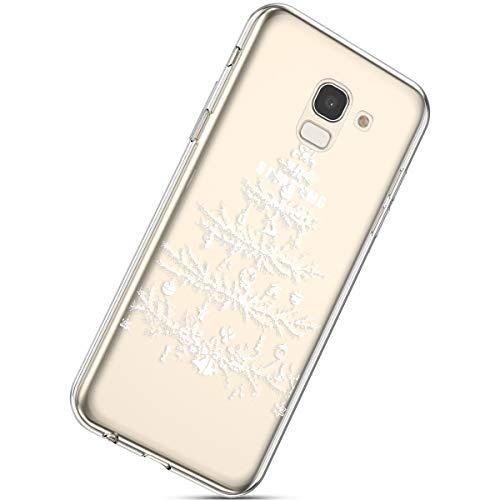 Handytasche Samsung Galaxy J6 2018 Silikonhülle Cover Durchsichtige Handyhülle Silikon Kristall Klar Schutzhülle Crystal Clear Handycover Silikon Dünn Transparent Hüllen,Weihnachten Baum
