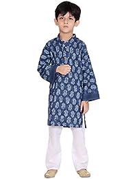 Kastiel Cotton Self Printed Blue Kurta Payajama Set For Boys