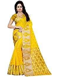 INDIAN BEAUTIFUL Women's Poly Cotton Saree With Blouse Piece (Yellow_ Free Size)