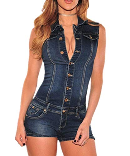 Jumpsuit Sommer Kurz Ärmellos Skinny Sommer V-Ausschnitt Stretch Jeans Mode Marken Overall Elegant Vintage Lässige Fashion Denim Romper Playsuit (Color : Colour, Size : M) -