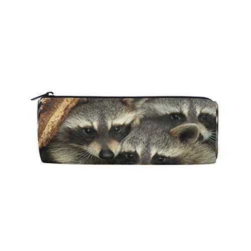 Federmäppchen mit 3 niedlichen Waschbären, für die Schule, Stifthalter für Kinder, große Kapazität, für Make-up, Kosmetik, Büro, Reisetasche -