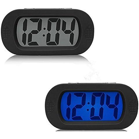 Moon mood® Simple Reloj Silencioso Digital LCD Grande Pantalla Snooze/Light Baterias Powered con Cubierta Protectora de Silicona Digital Despertador Negro (Baterías no Incluidas)