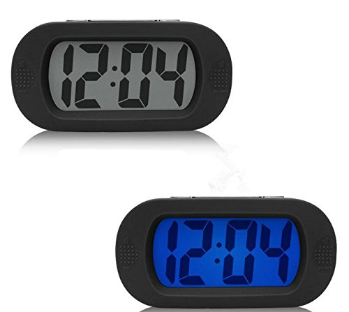 Wecker Uhr Tischuhr, Moon mood Klein Desktop Kleine Wecker Mini Einfache Silent Alarm Digital LCD Wide Screen Snooze/Bright-Funktion Batterien mit Silikonhülle (Schwarz) Wide Lcd