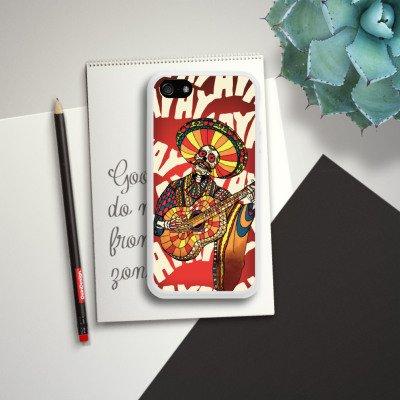 Apple iPhone 4 Housse Étui Silicone Coque Protection Mariachi Tête de mort Guitare Housse en silicone blanc