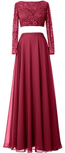 MACloth -  Vestito  - linea ad a - Maniche lunghe  - Donna Wine Red