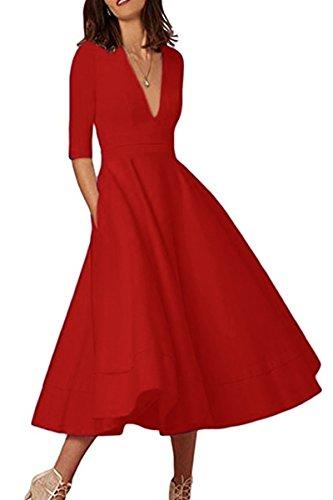 YMING Damen Festliches Kleid Midikleid Vintage Cocktailkleid Schwing Kleid Partykleid Übergröße,Rot,XXL,DE 44 46 (Roten Kirsche Kleid)