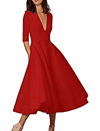 YMING Women's Cocktail Dress Elegant Deep V Neck High Waist Vintage Midi Swing Dress