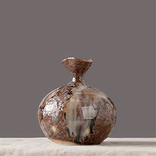 NOHOPE Manuelle Retro Hydrokulturen Keramik Vasen Emulation Blumenkübel Home Decor grobe Keramik Blumentopf Ornamente,G/6*13cm