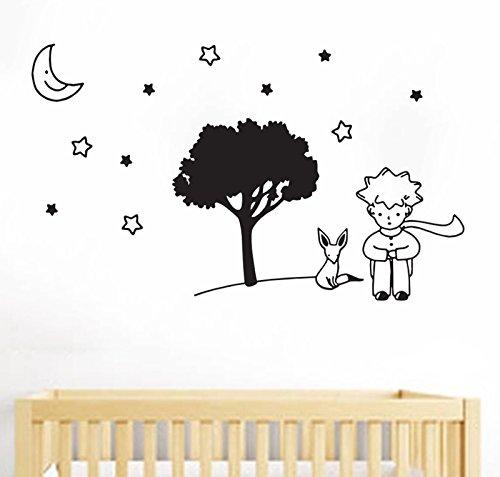Adhesivo decorativo para pared bebé sueño-Le Petit Prince, Piccolo Príncipe-por tshirteria, negro,
