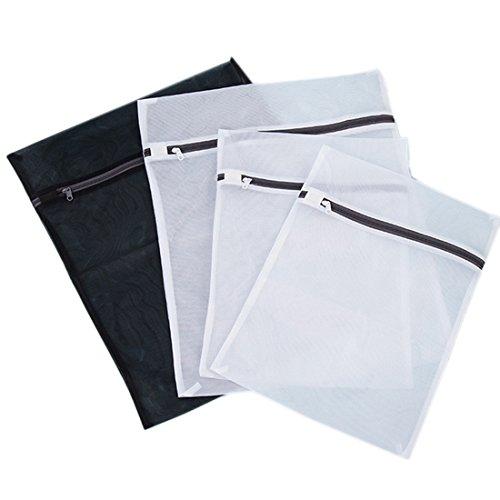 Wäschesäcke, Hipsteen Set von 4 praktischen Reißverschluss Wischtaschen Wäschesack Waschbeutel Socken Kleidung BH-Reiniger Netz Netz - weiß + schwarz