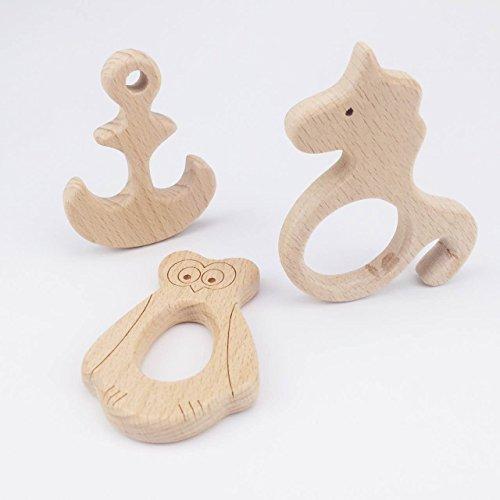Mamimami Home Natur Teether hölzerne Teether Form Tiere Teether Spielzeug 3PC unfertige Tier Perlen...