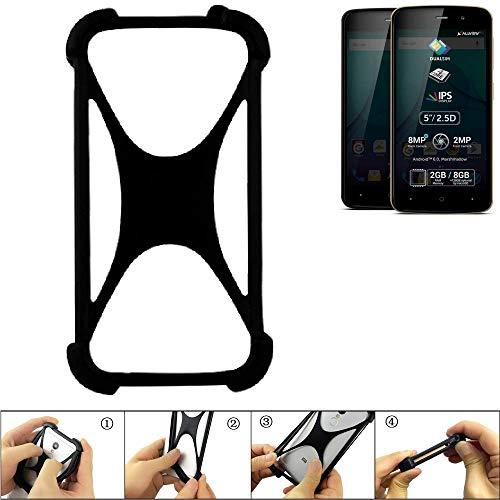 K-S-Trade Bumper Allview P6 Plus Silikon Schutz Hülle Handyhülle Silikoncase Softcase Cover Case Stoßschutz, schwarz (1x)