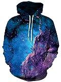Ocean Plus Herren Aufdruck Kapuzenpullover Tierdruck Galaxis Motiv Sweatshirt Weihnachten Schädel Hoodie Top Streetwear (XXL/3XL (Brustumfang: 126-146CM), Lila Wolke Blau Galaxie)