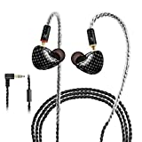 In-Ear Monitors, Wired Earbuds In-Ear Earbud Headphones/Earphones Dual Drivers Headphone with MMCX Detachable and Replaceable Cables, Noise-Isolating Sweatproof Earphones HiFi Stereo (Black,No Mic)