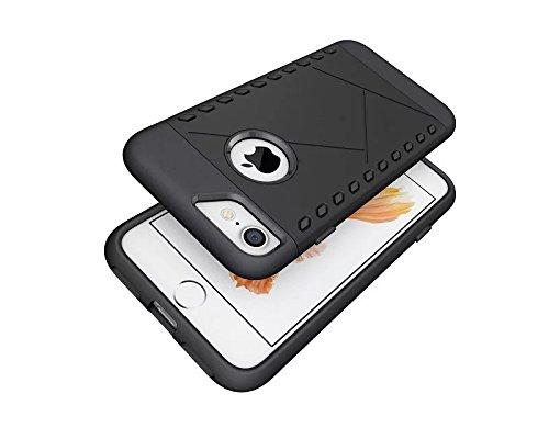 Apple iPhone 7 4.7 zoll 2016 DEFENSE case schwarz Tasche Hülle mit stand - Zubehör Etui cover iPhone 7 Dual SIM (black) - XEPTIO accessoires Black Silicon Case Screen