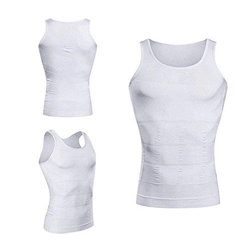 Kiwi-Rata Körperformendes Unterhemd Shirt für Herren - Kompression im Bauchbereich Weiß