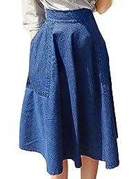 dac8ef8388410 Scothen Jupe Décontractée pour Femmes Boutique Jeans au Genou Bleu Denim  Stonewashed Denim Jupe Denim Jupe