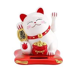 Jadeshay Lucky Cat - Winkekatze Solarbetriebene Winkekatze Glückskatze Süße Solar Glückbringen für Schreibtisch Wohnaccessoires Dekoration (Color : White)