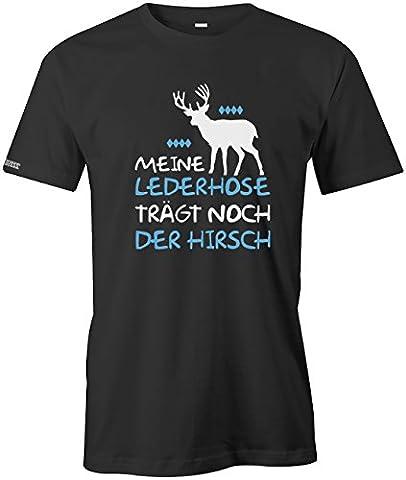 Meine Lederhose trägt noch der Hirsch - Oktoberfest - Herren T-Shirt in Schwarz by Jayess Gr. XXL