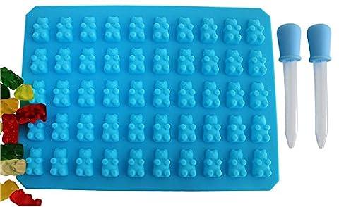 HelpCuisine Eiswürfelform – Eiswürfelbereiter und Pralinenformen - 100% Lebensmittelsilikon- BPA frei- FDA-zugelassenen- für Eiswürfel, Schokolade, Süßigkeiten – (1 Gummibären form + 2