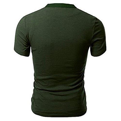 Aulei Herren Casual Polo Shirt Tops T-shirt Hemd Oberteil Kurzarmshirt Grün