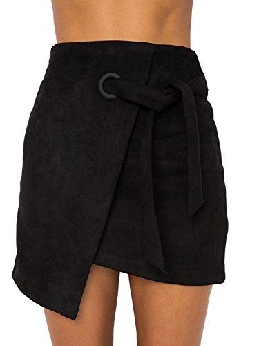 Annybar Damen Kurz Rock Sexy Asymmetric High Waist Mini Röcke Leder Rock Skirt mit Tunnelzug