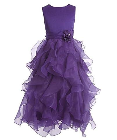FAIRY COUPLE Mädchen Kleid Knöchel-Länges Geschichtetes ärmelloses Prinzessin Party Festzug Ballkleid Abendkleid mit Blumen Tutu K0172 12 Lila