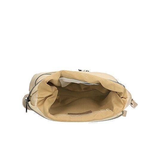 Borsa A Tracolla Donna In Vera Pelle Made In Italy Chicca Borse 30x25x10 Cm Beige
