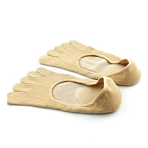 Pinkiou Toe Socks SPA Gel Plant Huile essentielle Anti-Cracking Low Cut No Show Hydratant Five Fingers Chaussettes (Gris)