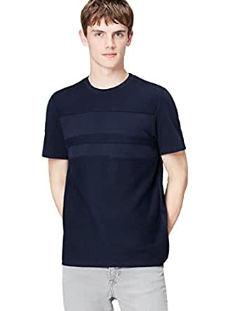 FIND Men's T-shirt with Textured Fabric and Chest Panel, Blue (Navy), Small