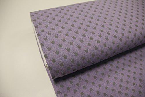 Stoff / 50cmx140cm / Kinder / beste Jersey-Qualität / Jersey / Sommer-Sweat Krone grau auf flieder meliert
