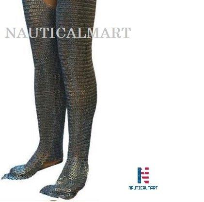 Nautische Mart LARP Rüstung-Sportschuhe Flache Unterlegscheibe Leggings mit Kette Mittelalter Chainmail Chausses Bein