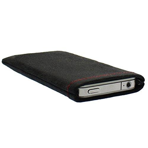 luvbag Classic schwarz Hülle Tasche aus Microfaserstoff für Samsung SGH-X140 Handyhülle