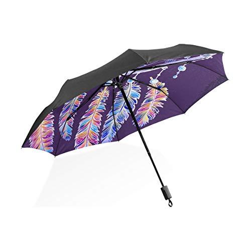 Gran Paraguas a Prueba de Viento Dibujado a Mano Colgando Atrapasueños Portátil Compacto Paraguas Plegable Antivibración Protección A Prueba de Viento al Aire Libre Viaje Mujeres Coche Paraguas Niños