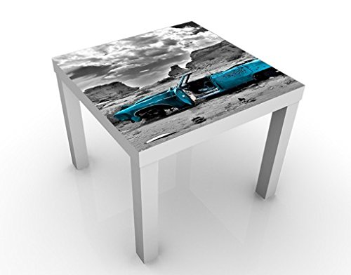 Tavolino design Turqouise Cadillac 55x55x45cm, Tischfarbe:weiss;Größe:55 x 55 x 45cm