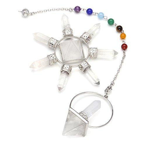 CrystalTears Reiki Chakra Kit de cristal curativo/Rock de cuarzo pirámide, generador de energía y 7 chakras colgante de cristal de péndulo, metafísica espiritual, equilibrio reiki, división de polvo