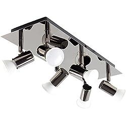 MiniSun Plafonnier/Applique. Design Moderne et élégant. Rectangulaire et Entièrement Réglable 6 SPOT à Diriger. Chrome Foncé. GU10 50 watt ou 5 watt LED (ampoules non-fournies).