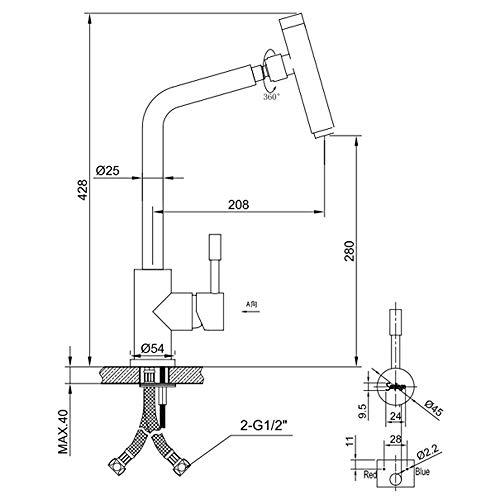 Sanlingo – Edelstahl-Küchenarmatur mit 360° Schwenkauslauf - 3