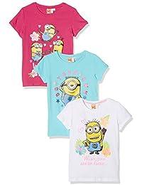 FABTASTICS Minions, T-Shirt Bambina (Pacco da 3)