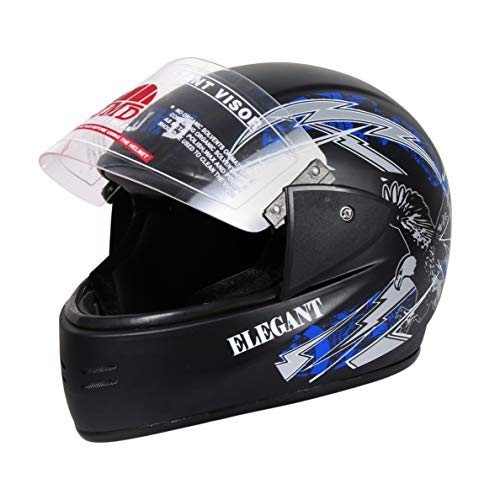 JMD HELMETS Full Face Matt Finish Graphic Helmet (Black and Blue, Large)