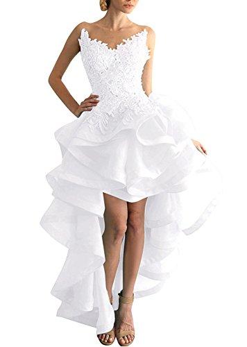 Beyonddress Damen Hi-Lo Abendkleider Asymmetrisch Ballkleid Organza Partykleid Heimkehr Kleider (Weiß,48) (High Brautkleid Weißes Low)