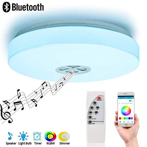 Luz LED de techo para música, lámpara de techo moderna con altavoz...