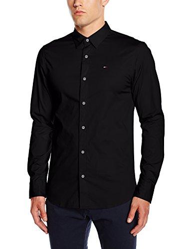 Hilfiger Denim Herren Slim Fit Freizeit Hemd Original Stretch Shirt l/s, Schwarz (Tommy Black 078), Gr. Medium